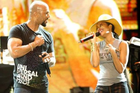 Erykah Badu & Common Looking At Each Other